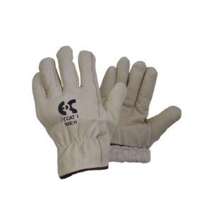Γάντια δερμάτινα λευκά με επένδυση Driver