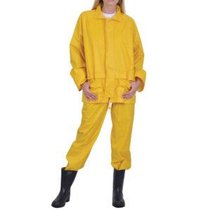 Σετ σακάκι/παντελόνι αδιάβροχο με κουκούλα κίτρινο