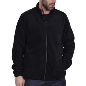 Ζακέτα fleece με τσέπες και φερμουάρ μαύρη