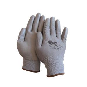 Γάντια βαμβακερά λεπτά εξαιρετικής αφής γκρί PU